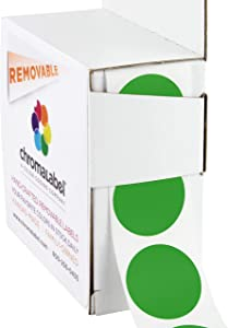 ChromaLabel 1 Inch Round Removable Color-Code Dot Stickers, 1000 per Dispenser Box, Green