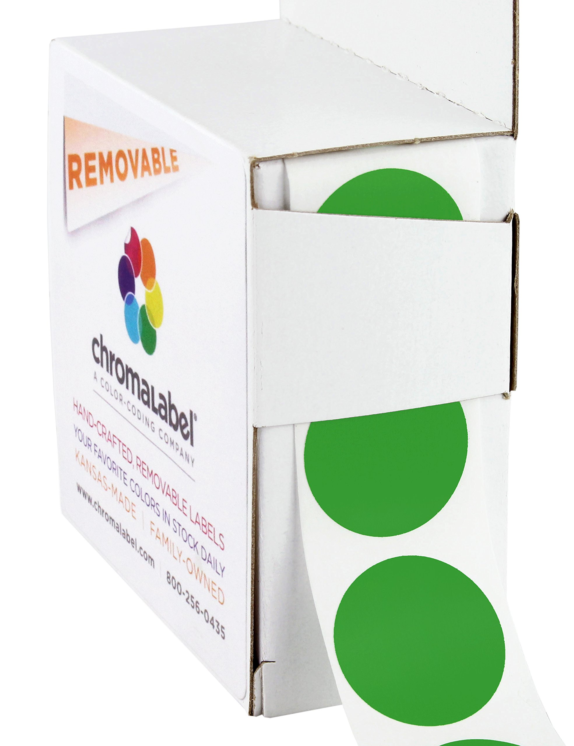 ChromaLabel 1 inch Removable Color-Code Dot Labels | 1,000/Dispenser Box (Green)