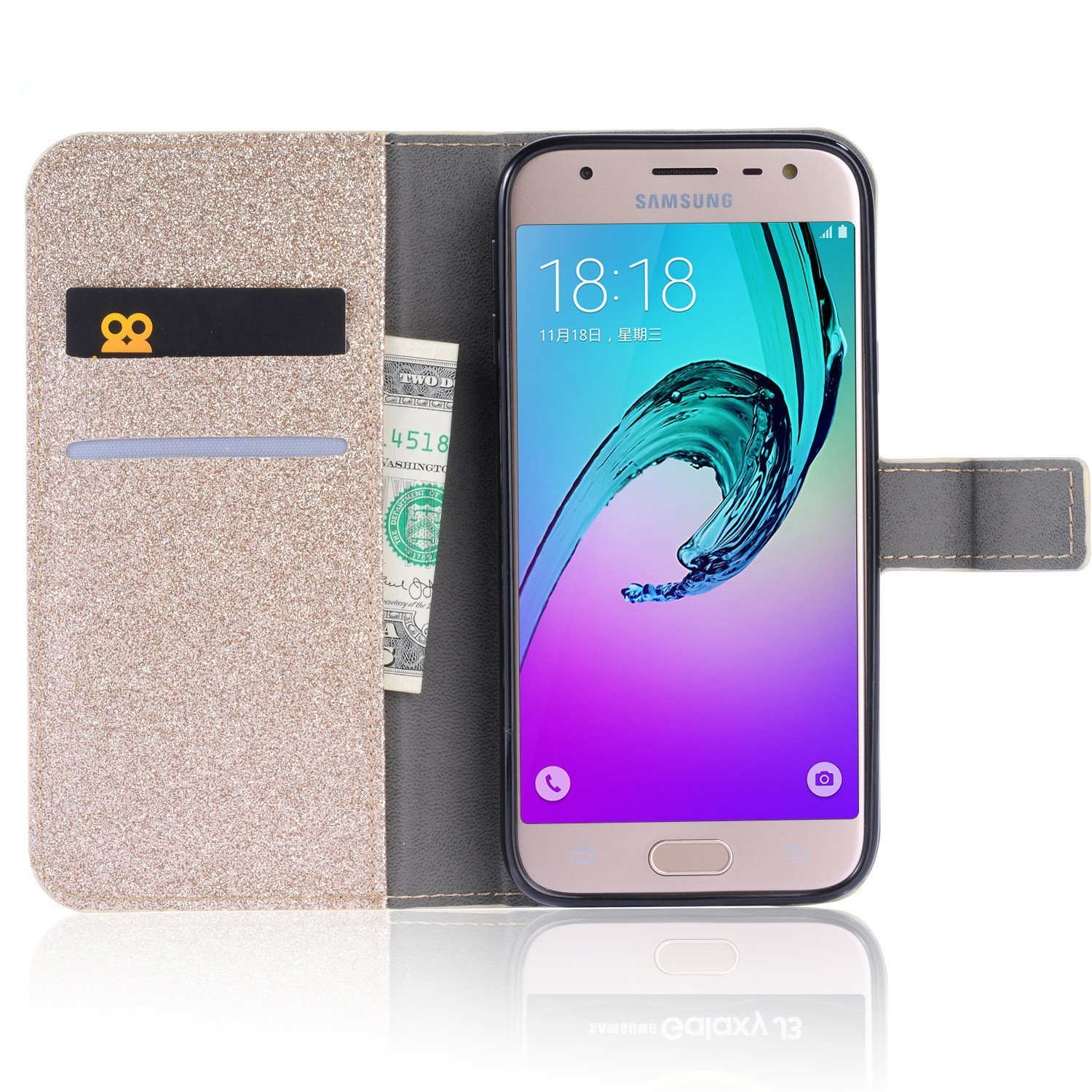 Bling Glitter Case for Samsung Galaxy J3 2018,Shinyzone Luxury Diamond [3D Flower Magnetic Buckle] [Stand Feature] Leather Wallet Protective Cover for Samsung Galaxy J3 2018,Golden by Shinyzone (Image #2)