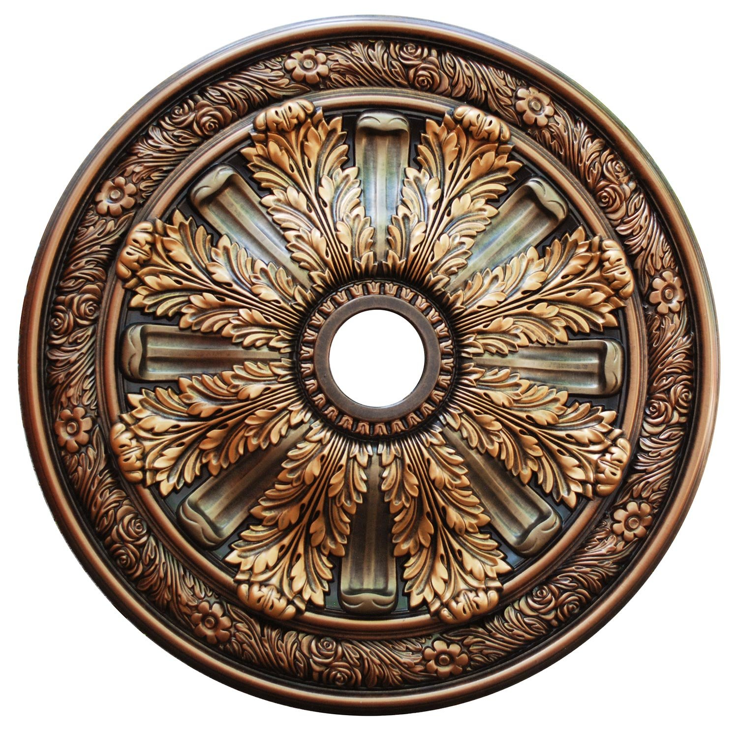 Fine Art Deco ''Burnish Leaves'' Hand Painted Ceiling Medallion 30 In. Finished in Antique Bronze, Tequila Gold and Blackened Bronze by Fine Art Deco