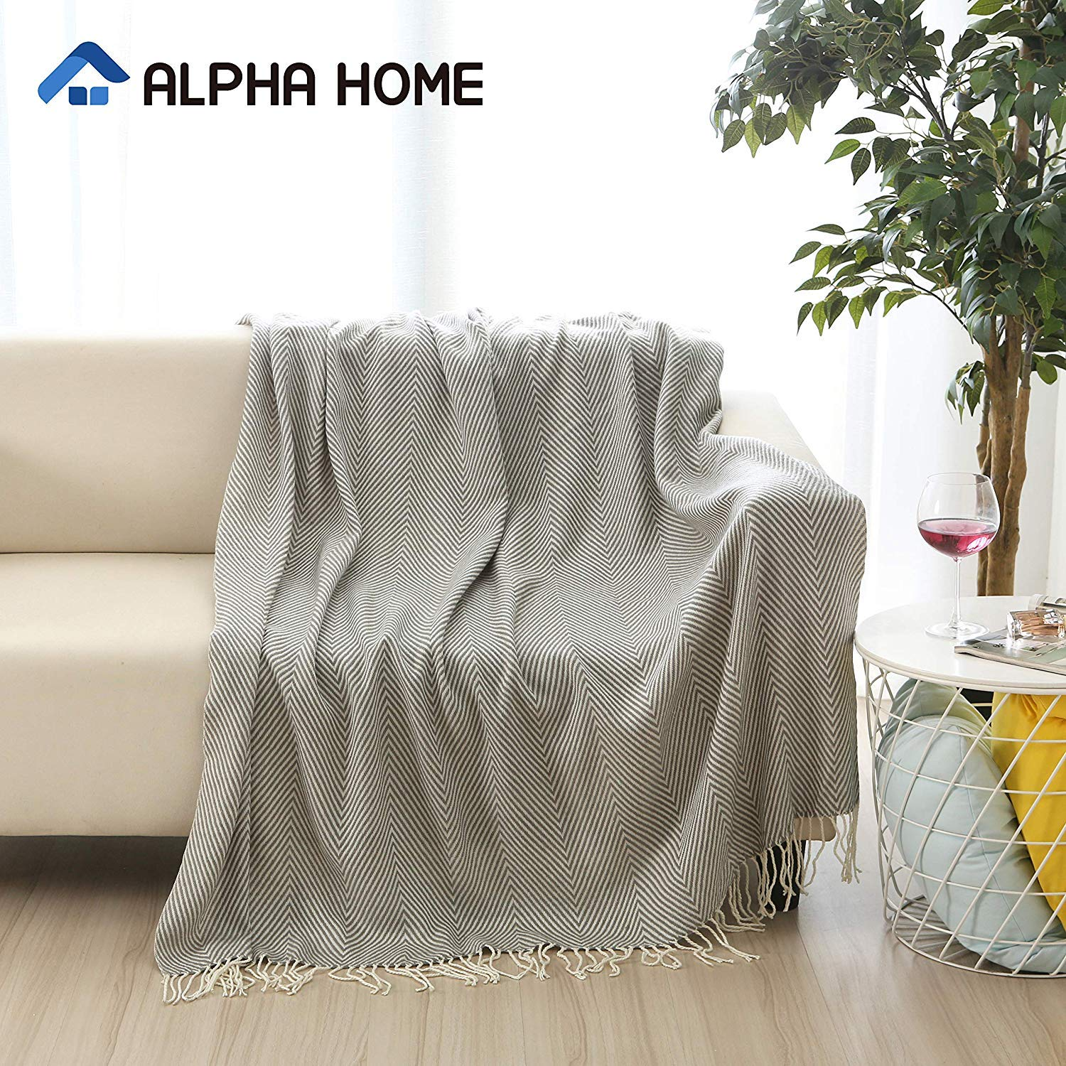 "ALPHA HOME Woven Throw Blanket Gray Chevron Blanket with Fringe for Couch Chair Bed Picnic Camping Travel - 50"" x 60"""