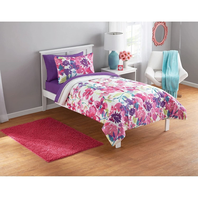 Cheap 3 piece girls pink purple white floral motif comforter full cheap 3 piece girls pink purple white floral motif comforter full set beautiful girly all izmirmasajfo
