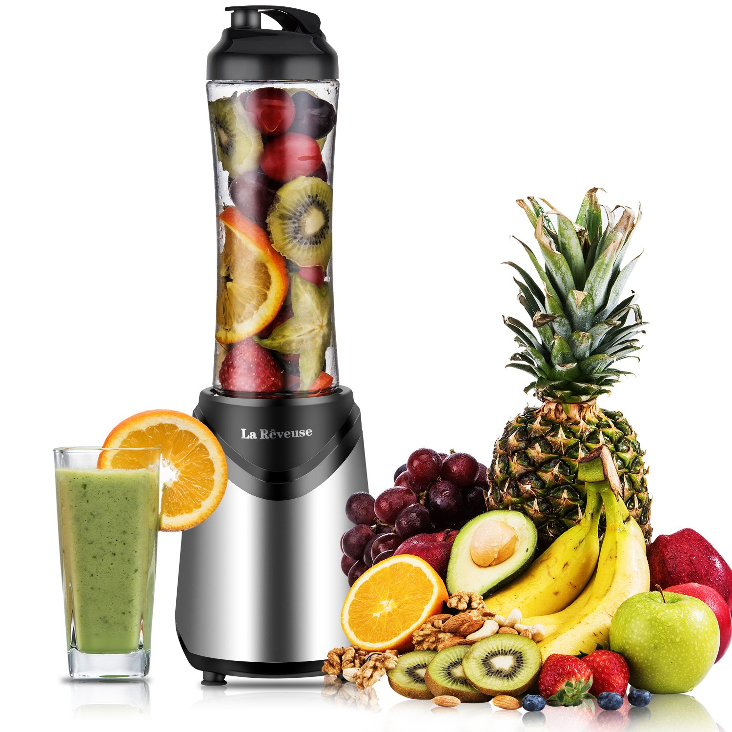 La Reveuse Smoothies Blender 300 Watt with 18 oz BPA Free Portable Travel Sports Bottle (Silver-1802)