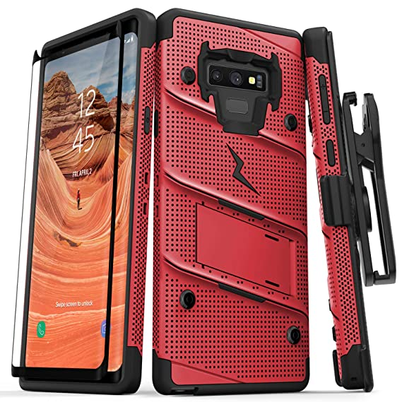 new concept 6e96b c307e Zizo Bolt Series Galaxy Note 9 Case with Holster, Lanyard, Military Grade  Drop Tested and Tempered Glass Screen Protector for Samsung Galaxy Note 9  ...