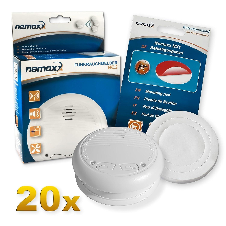 20x Nemaxx WL2 Detectores de Humo inalámbrico, Detectores de Incendios inalámbrico conectable en Red - Conforme la Norma EN 14604 + 20x Nemaxx NX1 Pad de ...