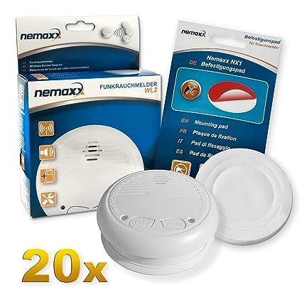20x Nemaxx WL2 Detectores de Humo inalámbrico, Detectores de Incendios inalámbrico conectable en Red -