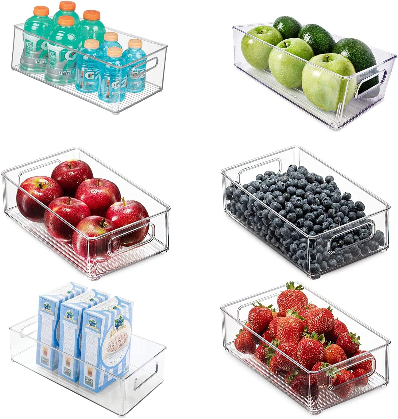 6 Pack Refrigerator Organizer Bins—Stackable Organizer Bins with Handles for Freezer—Clear Plastic Pantry Food Storage Rack- Food Safe