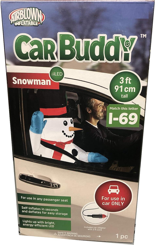 Santa Claus Car Buddy 3/' Christmas Airblown Inflatable Light Up Gemmy Adaptor