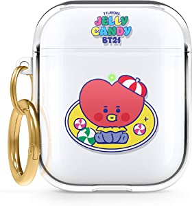 elago BT21 Case Compatible with Apple AirPods Case 1 & 2, Clear Case with Keychain, Reduced Yellowing and Smudging, Supports Wireless Charging [Official Merchandise] [TATA]