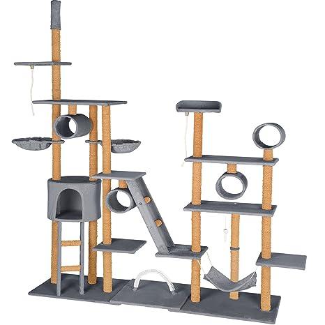 TecTake Árbol rascador para Gatos | la Altura del Techo | 4 Tubos | 2 Cuerdas