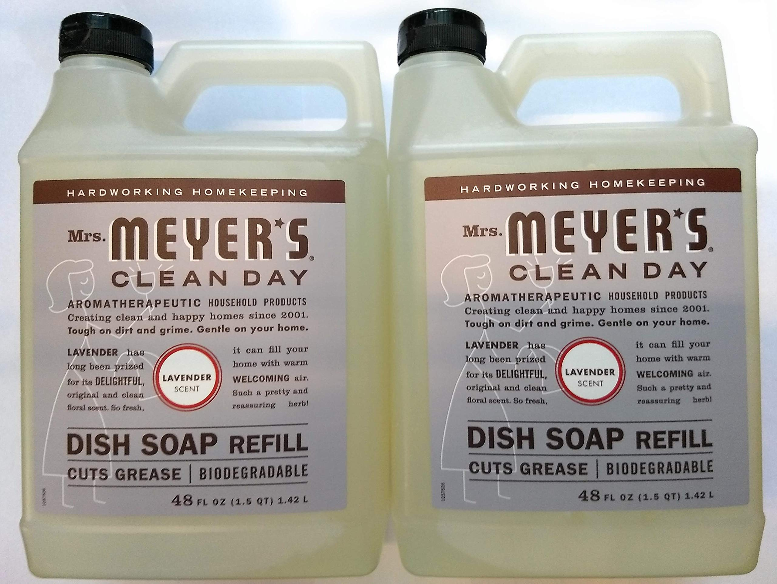 Mrs. Meyer's Clean Day Liquid Dish Soap Refill, Lavender, 48 Ounce - 2 PK by SC Johnson