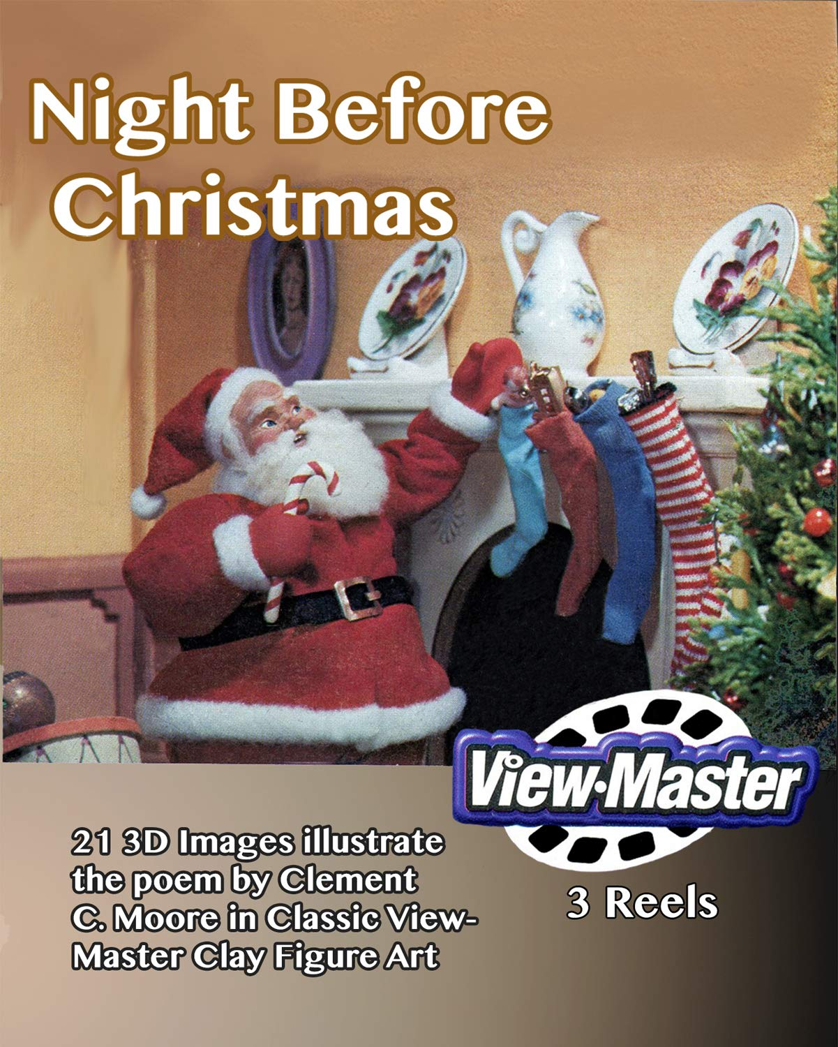 ViewMaster - Night Before Christmas - ''Visit from St. Nicholas'' illustrated poem by Clement C. Moore - 3 reels 21 3D Images by 3Dstereo ViewMaster