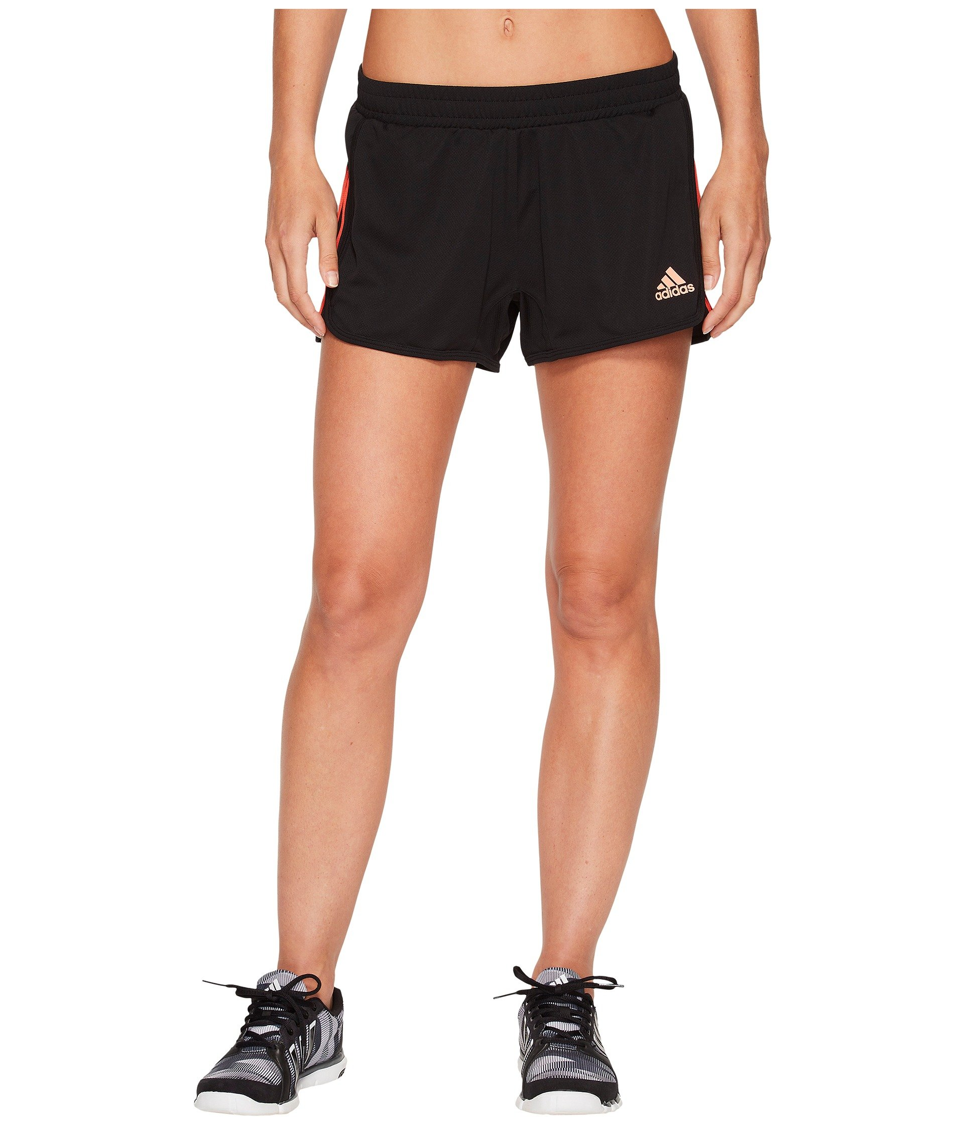 adidas Women's D2m Knit Shorts Black/Real Coral X-Small 3 3