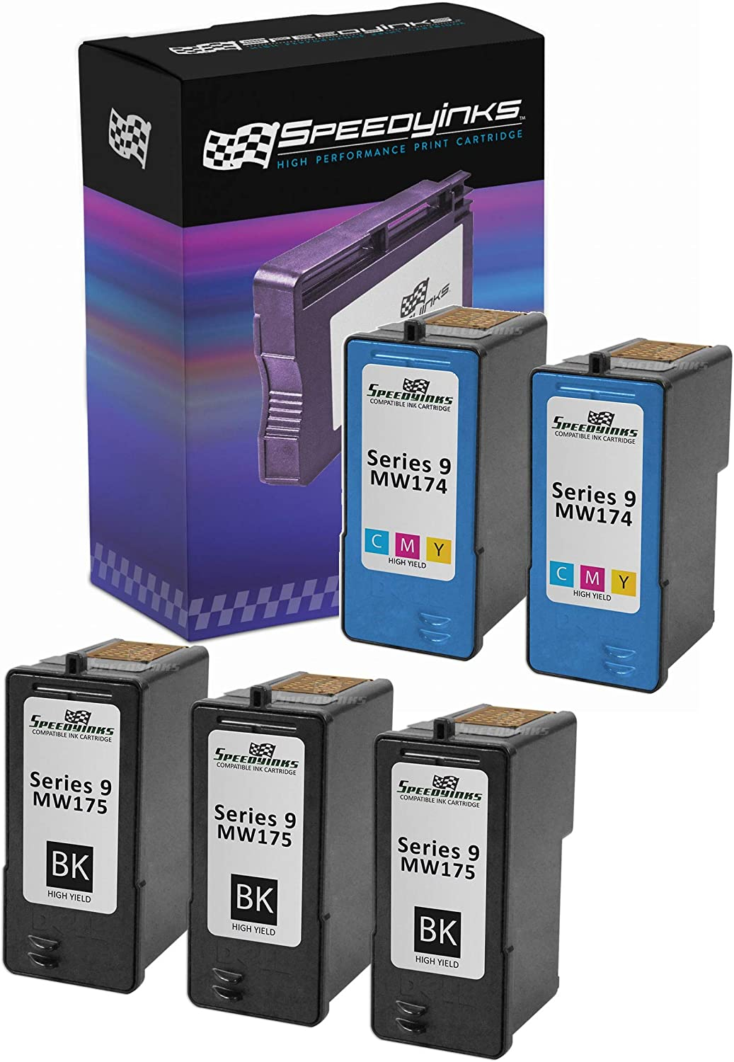 Speedy Inks Remanufactured Ink Cartridge Replacement for Dell MW175 and MW174 Series 9 High-Yield (3 Black, 2 Color, 5-Pack)