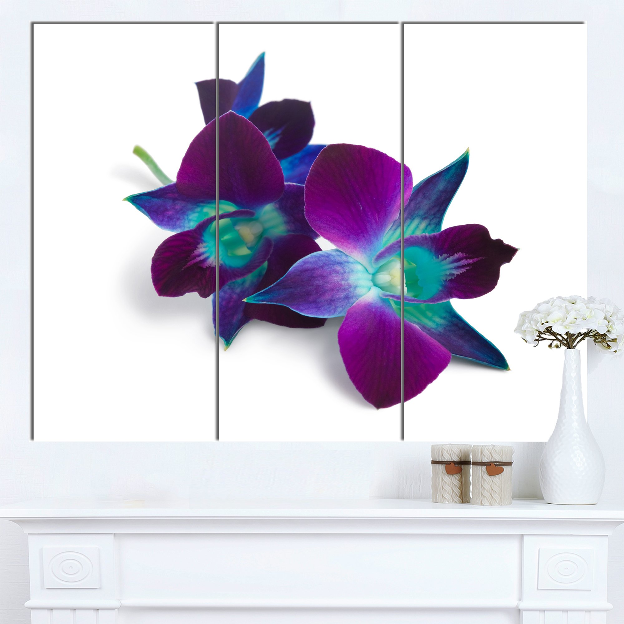 Designart Deep Purple Orchid White Flower s Canvas Wall Artwork, 36x28-3 Panels by Design Art