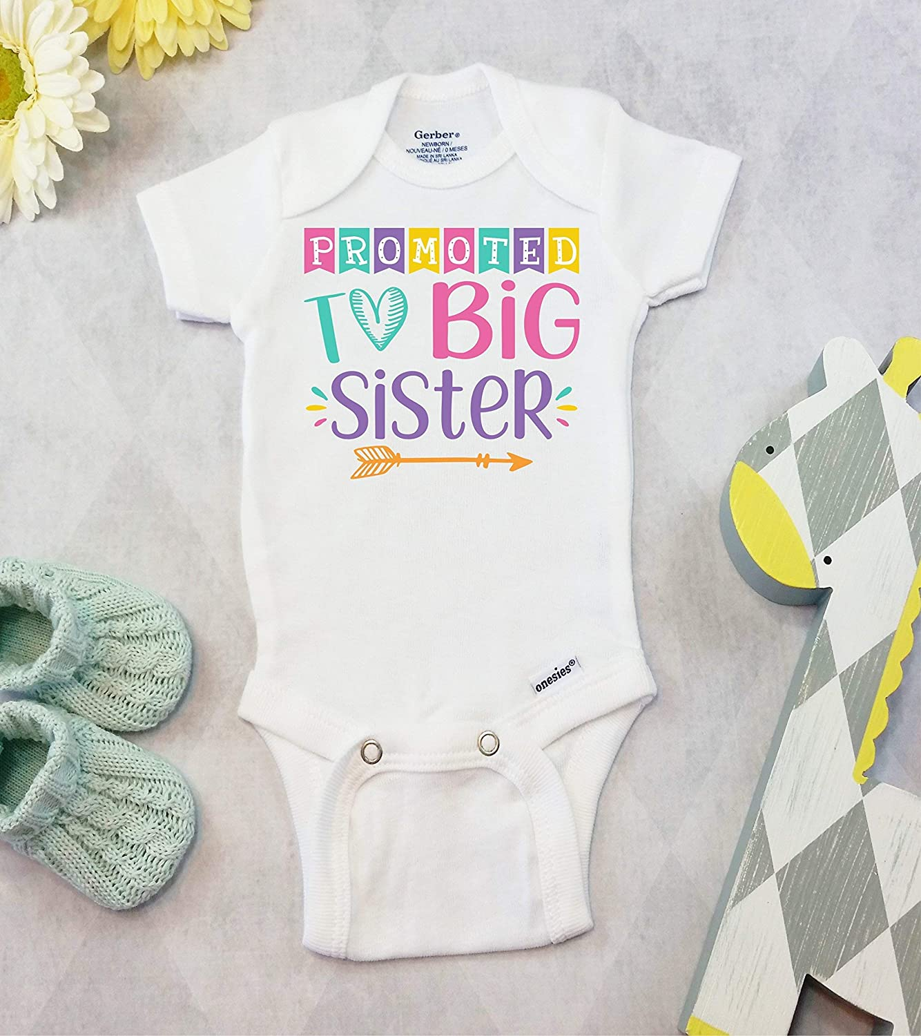 475ac194e Amazon.com: Promoted to Big Sister Sibling Pregnancy Announcement Bodysuit  or T-Shirt: Handmade