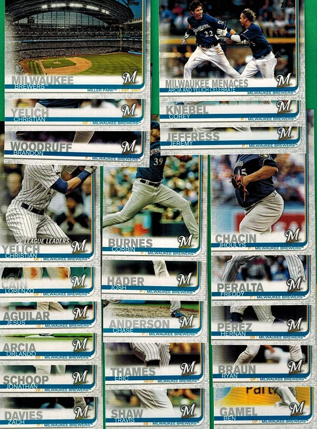 Milwaukee Brewers 2019 Topps Complete Mint Hand Collated 22 Card Team Set with Ryan Braun and Christian Yelich Plus