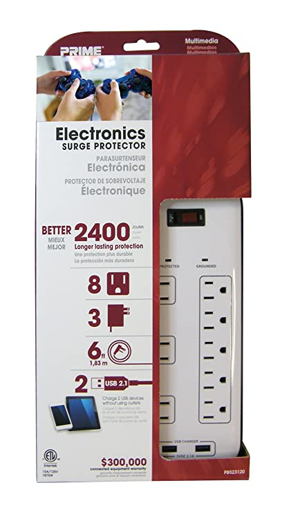 Prime Wire & Cable PB523120 8-Outlet Electronics Surge Protector ...