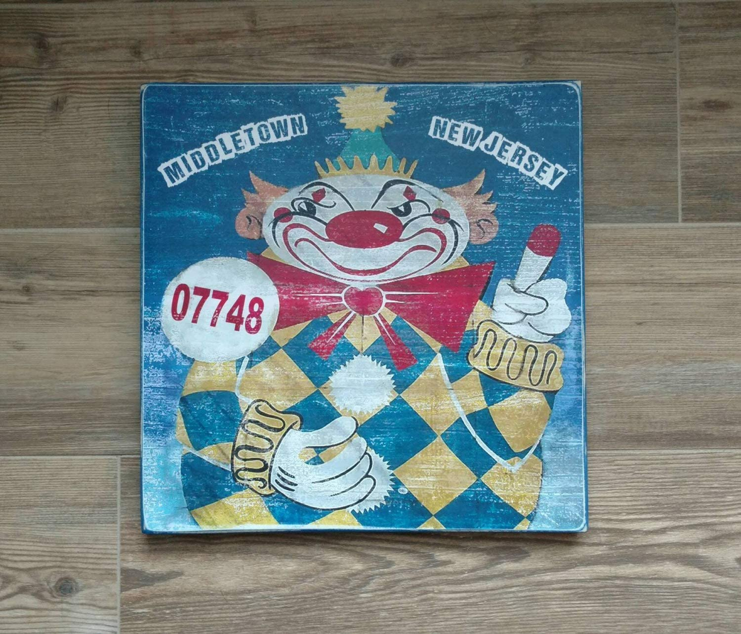 NOT BRANDED Middletown New Jersey Evil Clown of Middletown Calico The Clown Wood Sign NJ Dorm Decor