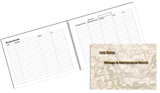 vehicle mileage log book map print effect cover a6 6 by 4