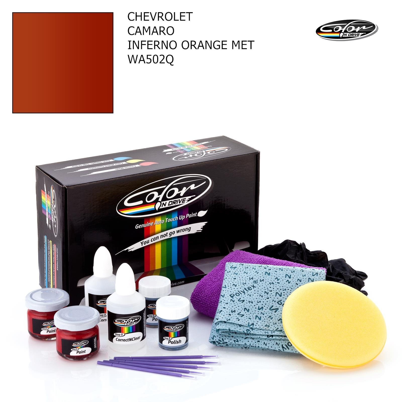 Chevrolet Camaro/Inferno Orange MET - WA502Q / Color N Drive Touch UP Paint System for Paint Chips and Scratches/Basic Pack