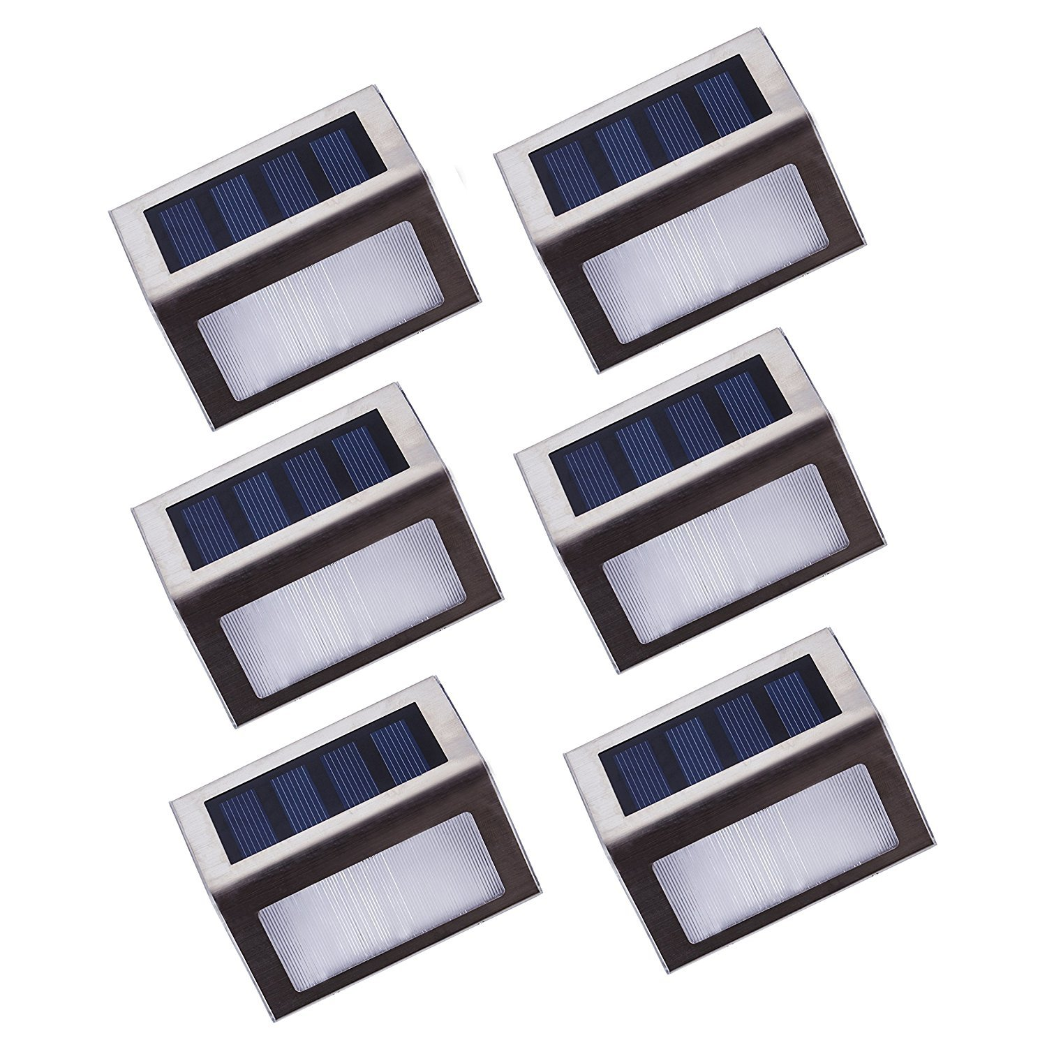 [Upgraded 3 LED] HKYH Newest 6 Pack 3 LED Solar Bright Step Light Stairs Pathway Deck Garden Lamps Stainless Steel Wall Yard Outdoor Illuminates Patio Lamps by HKYH