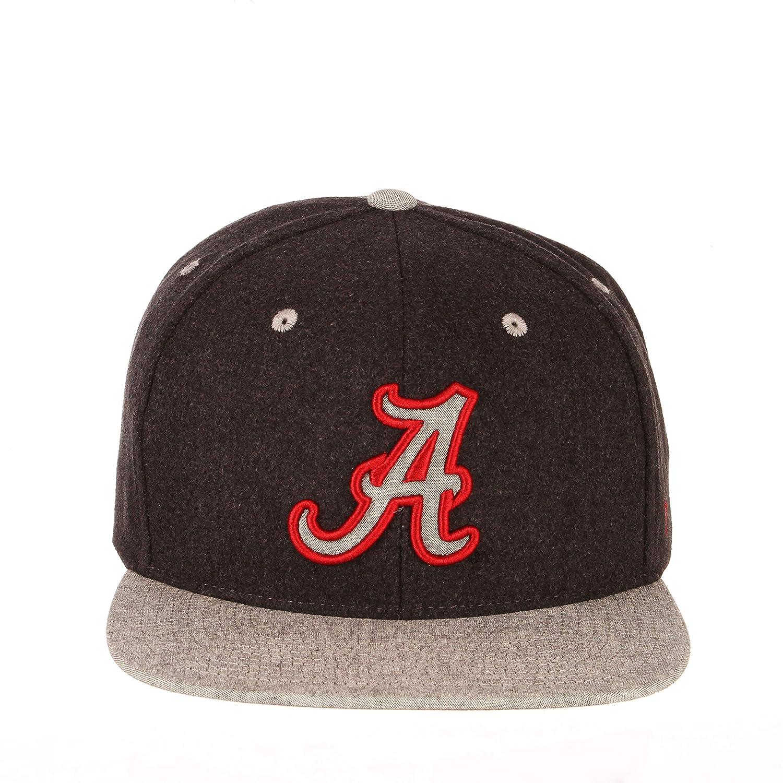 Charcoal Grey NCAA Zephyr Alabama Crimson Tide Mens Bespoke Melton Ol Snapback Hat Adjustable