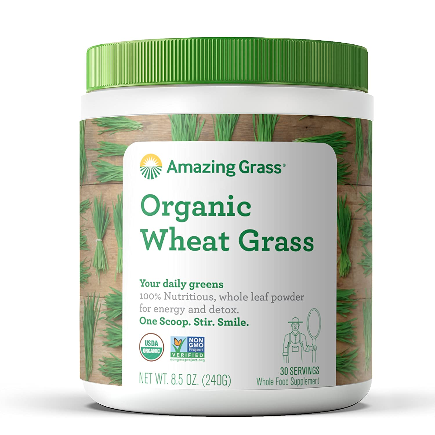Amazing Grass Wheat Grass Powder: 100% Whole-Leaf Wheat Grass Powder for Energy, Detox & Immunity Support, 30 Servings