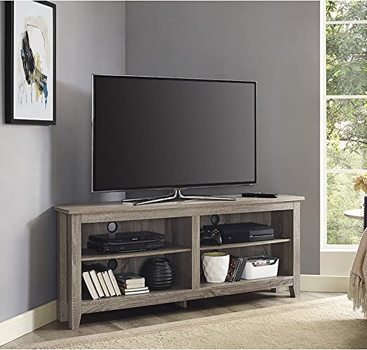 Amazon Com Walker Edison Furniture Company Simple Farmhouse Wood Corner Stand For Tv S Up To 65 Living Room Storage Shelves Entertainment Center 58 Driftwood Furniture Decor