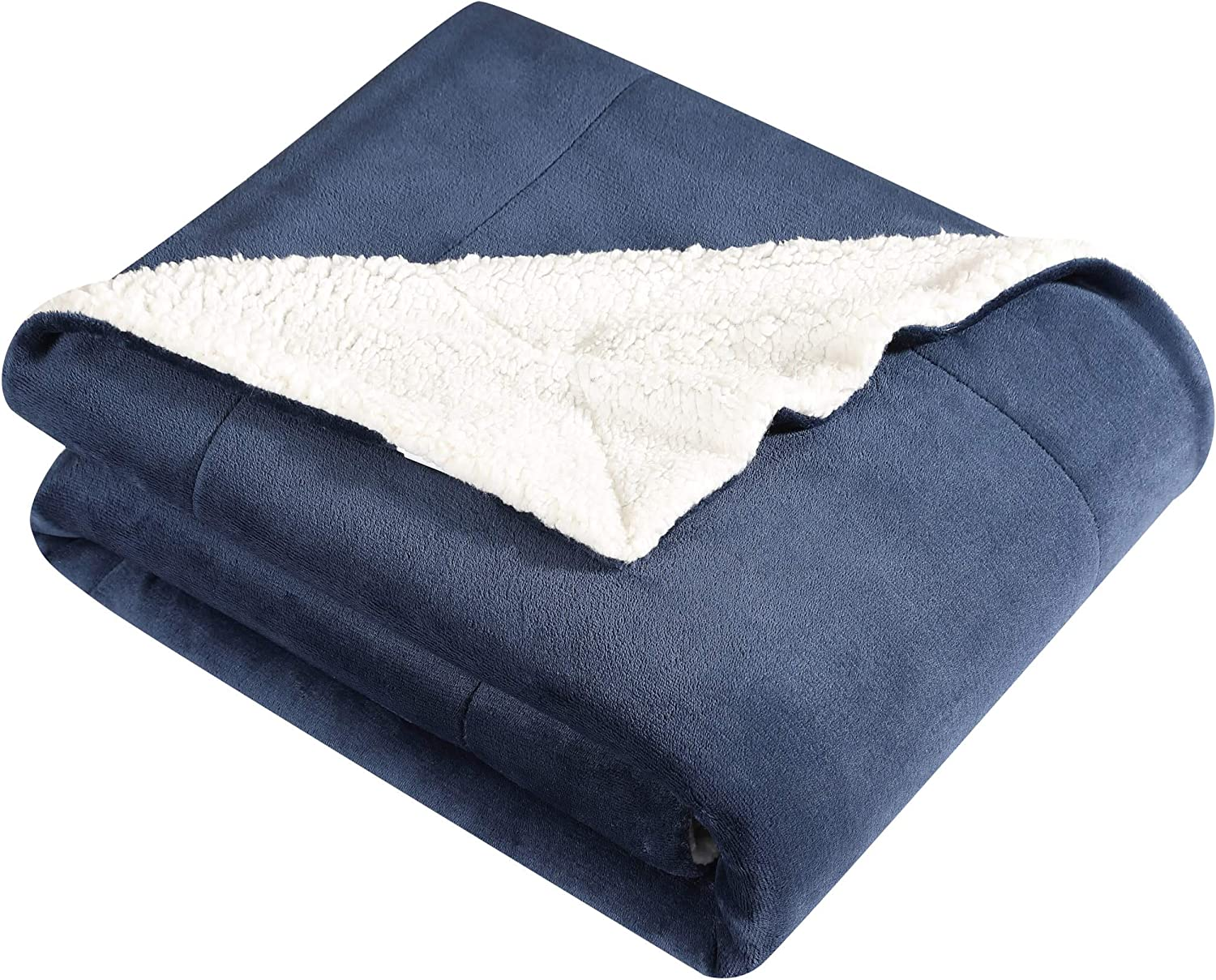 Eddie Bauer Ultra-Plush Collection Throw Blanket - Reversible Sherpa Fleece Cover, Soft & Cozy, Perfect for Bed or Couch, Full/Queen, Blue