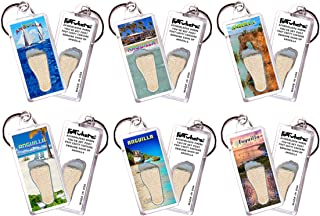 """product image for Anguilla""""FootWhere"""" Keychains. 6 Piece Set. Authentic Destination Souvenir acknowledging Where You've Set Foot. Genuine Soil of Featured Location encased Inside Foot Cavity. Made in USA"""