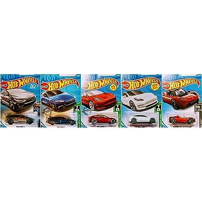 Hot Wheels Tesla 5 Car Bundle Set Includes Tesla Model X Tesla Model 3 Tesla Model S Tesla Roadster: Toys & Games