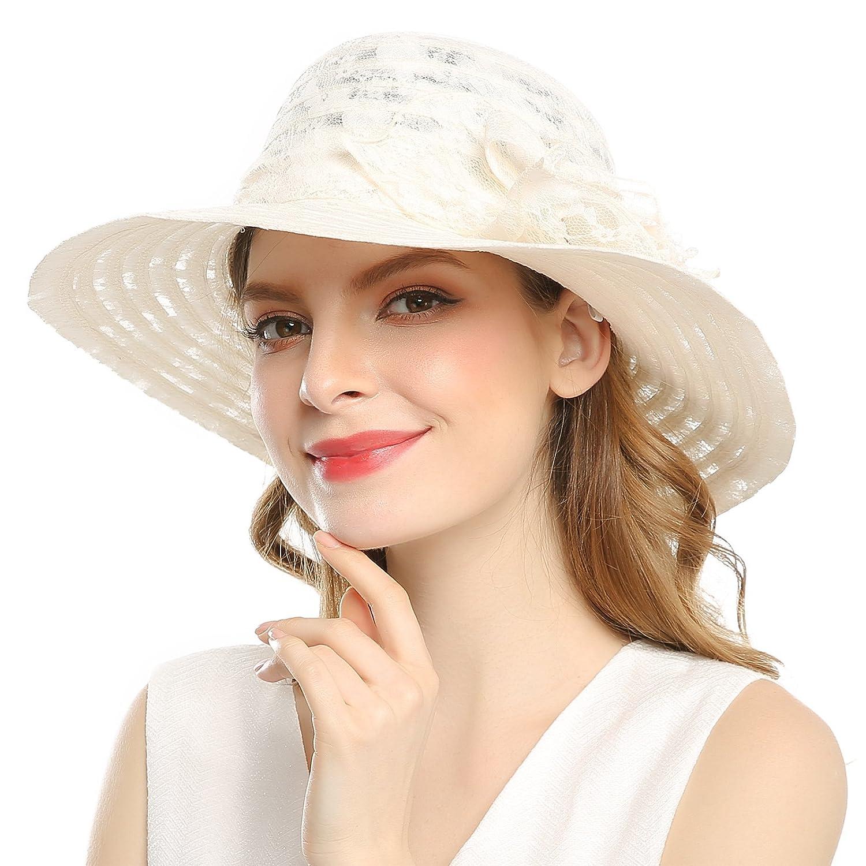 305e751aba6 WELROG Women s Kentucky Derby Church Hat - Foldable Floppy Dress Hats  Fascinators Fancy Wide Brim Tea Party Wedding Sun Hats (Beige  3) at Amazon  Women s ...