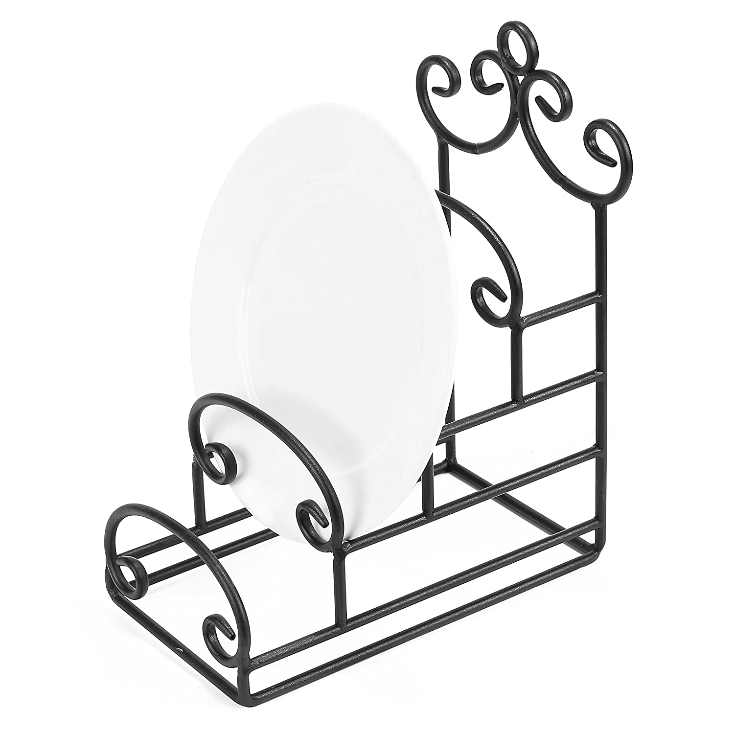 MyGift 4-Tier Vintage-Style Metal Scrollwork Plate Display Stand