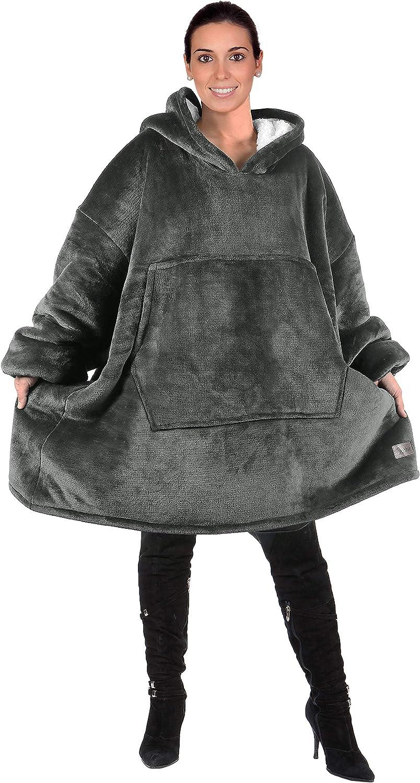 Oversized Sherpa Hoodie Sweatshirt Blanket,Super Soft Warm Comfortable Giant Hoody Front Pocket Adults Men Women Teens