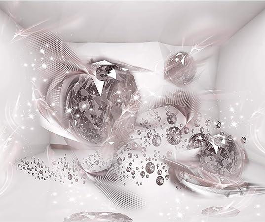 Papier peint intiss/é Fleurs Lys 400x280 cm Trompe l oeil decomonkey D/éco Mural Tableaux Muraux Photo 3d Effet Abstrait Abstraction blanc