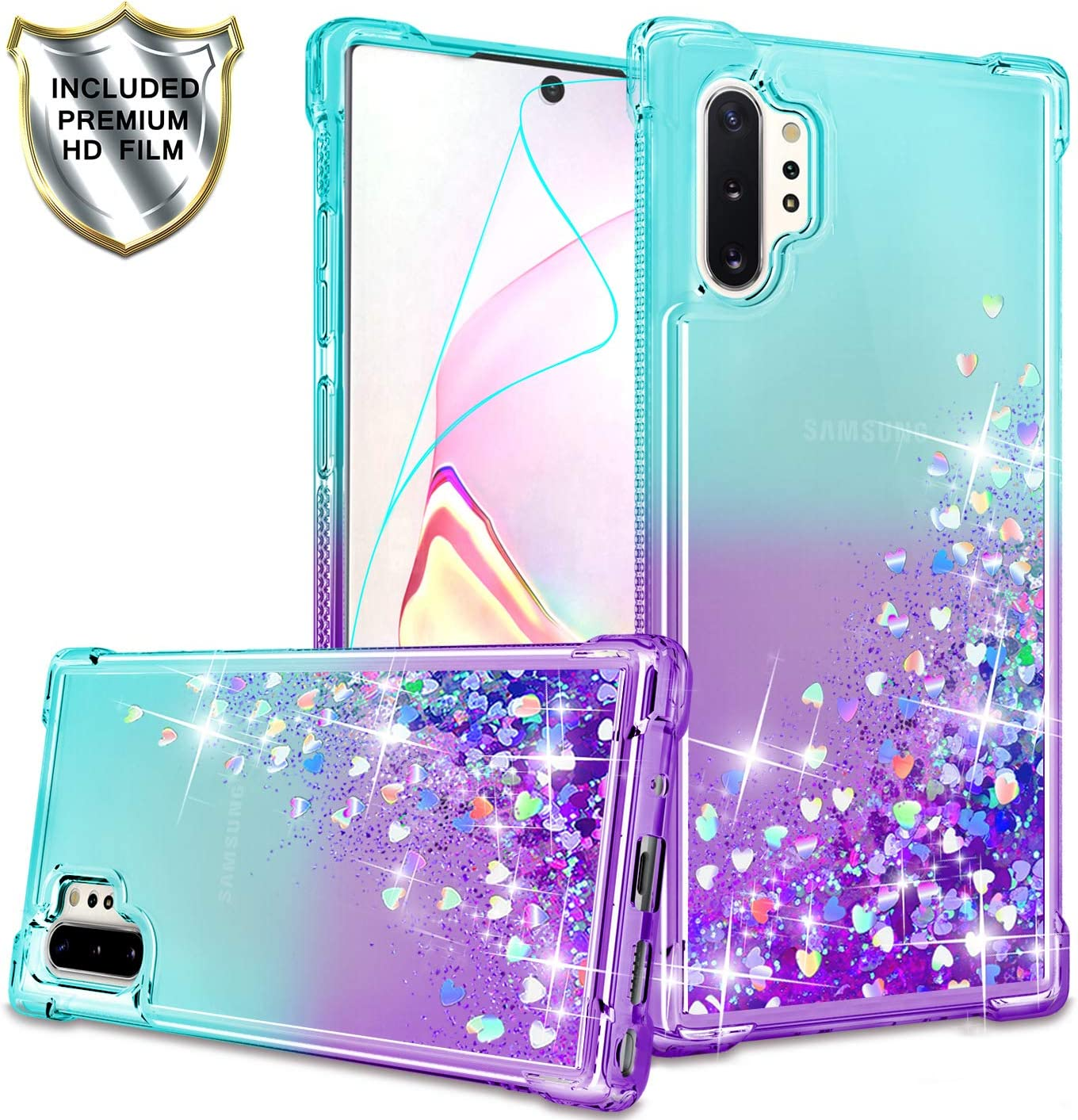Gritup Galaxy Note 10 Plus Case, Galaxy Note 10+ 5G Case with HD Screen Protector for Girls Women, Cute Clear Gradient Glitter Liquid TPU Slim Phone Case for Samsung Galaxy Note 10 Plus Teal/Purple