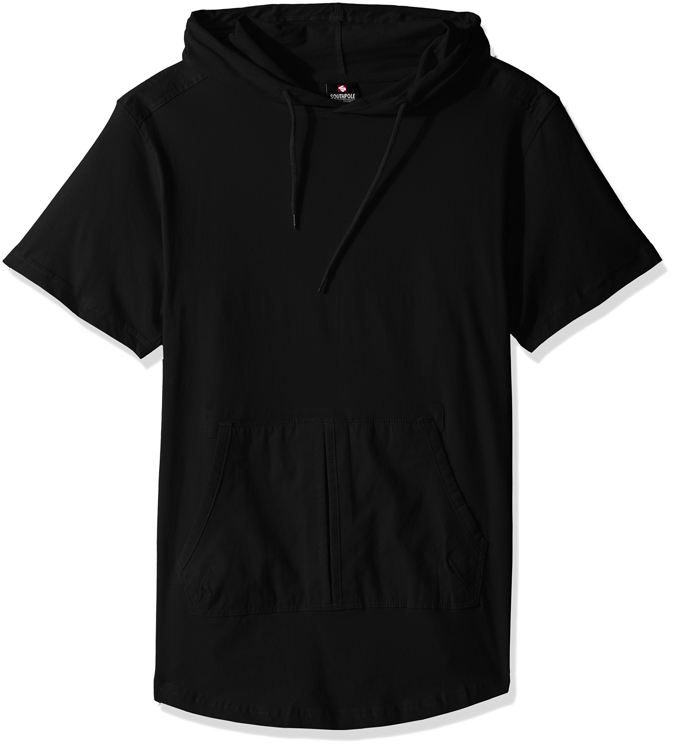 Southpole Men's Short Sleeve Hooded Scallop Tee with Fine Twill Detail, Black, Large