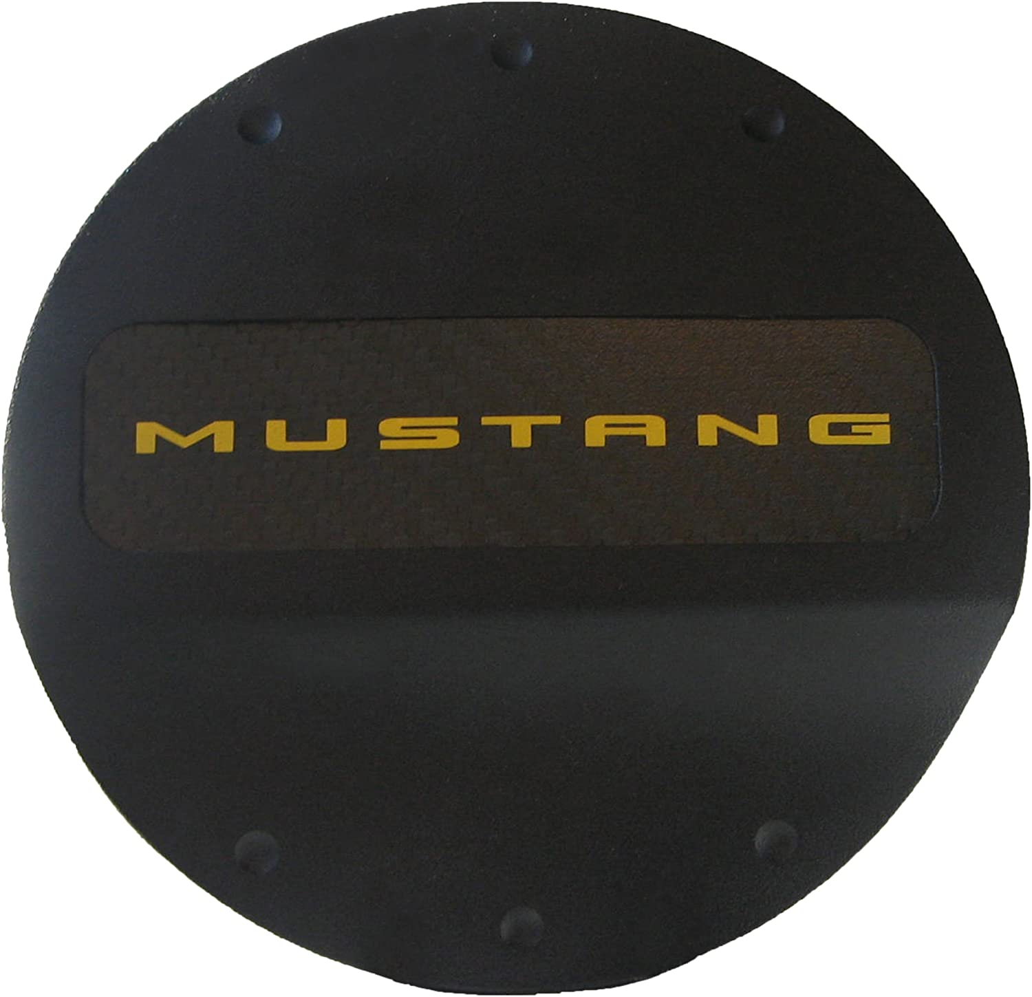 Defenderworx 901426 Black Fuel Door with Yellow Ford Mustang Logo