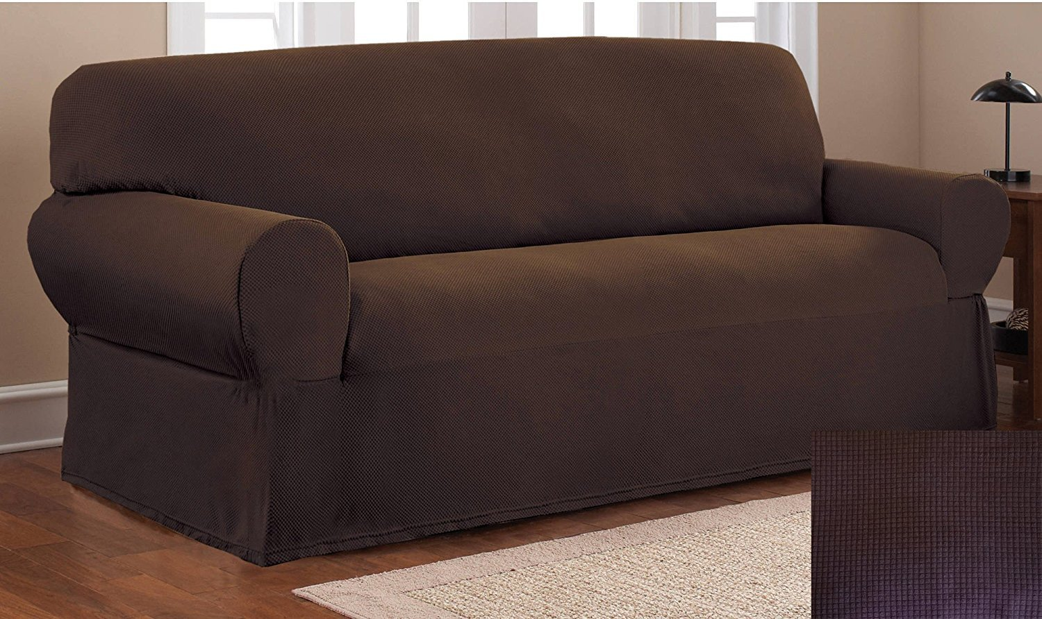 Fancy Collection Sure Fit Stretch Fabric Sofa Slipcover Sofa Cover Solid New #Stella (Coffee/Brown, 1 pc Sofa)