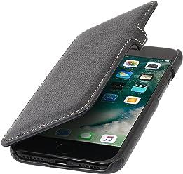 StilGut Book Type Case, Custodia a Libro Booklet Custodia Orizzontale, Cover Apertura Laterale in Vera Pelle per Apple iPhone 8 Plus, Nero con Clip