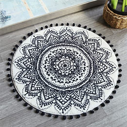 Round Carpet Beautiful Art Mandala Floor Non-Slip Living Room Bath Door Mat Rugs