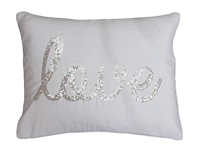 "14""x18"" Love Sequin Script Faux Linen Throw Pillow Gray/Silver - Décor Therapy"