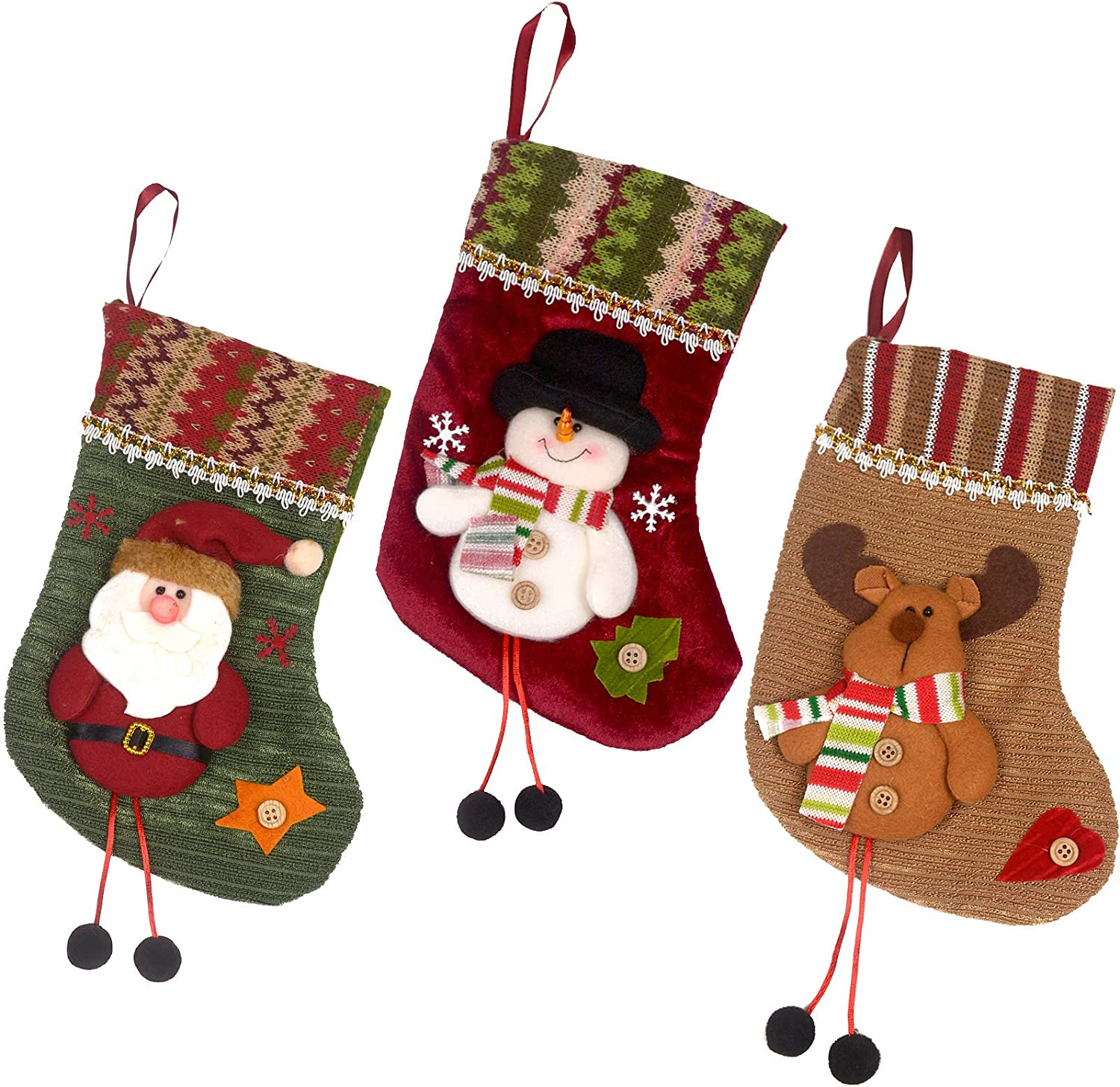 Gardening Will Set Of 3 Styles 10 Christmas Tree Hanging Sock Santa Claus Snowman Stocking Xmas Decoration Gift Garden Outdoor