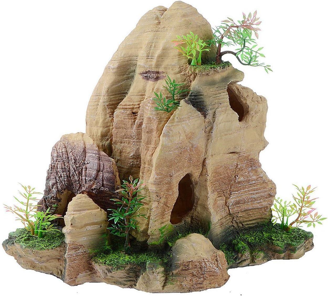 Saim Mountain View Aquarium Decor Stone Rockery Hiding Cave Tree Fish Tank Ornament