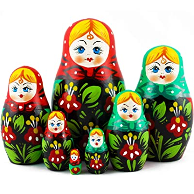 Matryoshka Dolls Old Vintage Style Set 7 pcs Great Idea for Yankee Swap: Home & Kitchen