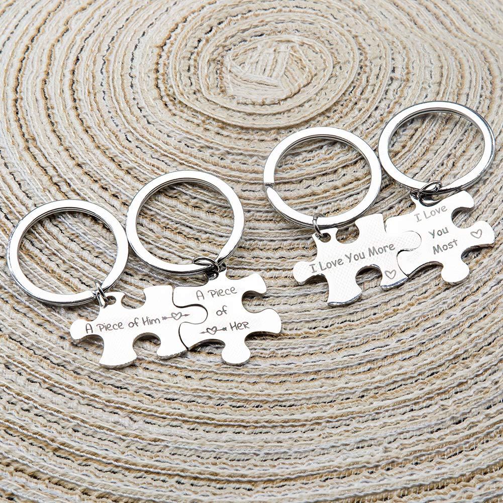 CNYMANY 4 Pcs Couple Keychains Anniversary Decoration Jewelry Keyrings for Lover Husband Wife Boyfriend Girlfriend