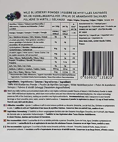 Polvo de arándanos salvajes (100 g), 100% fruta entera, sin extracto, sin concentrado, sin jugo de fruta añadido