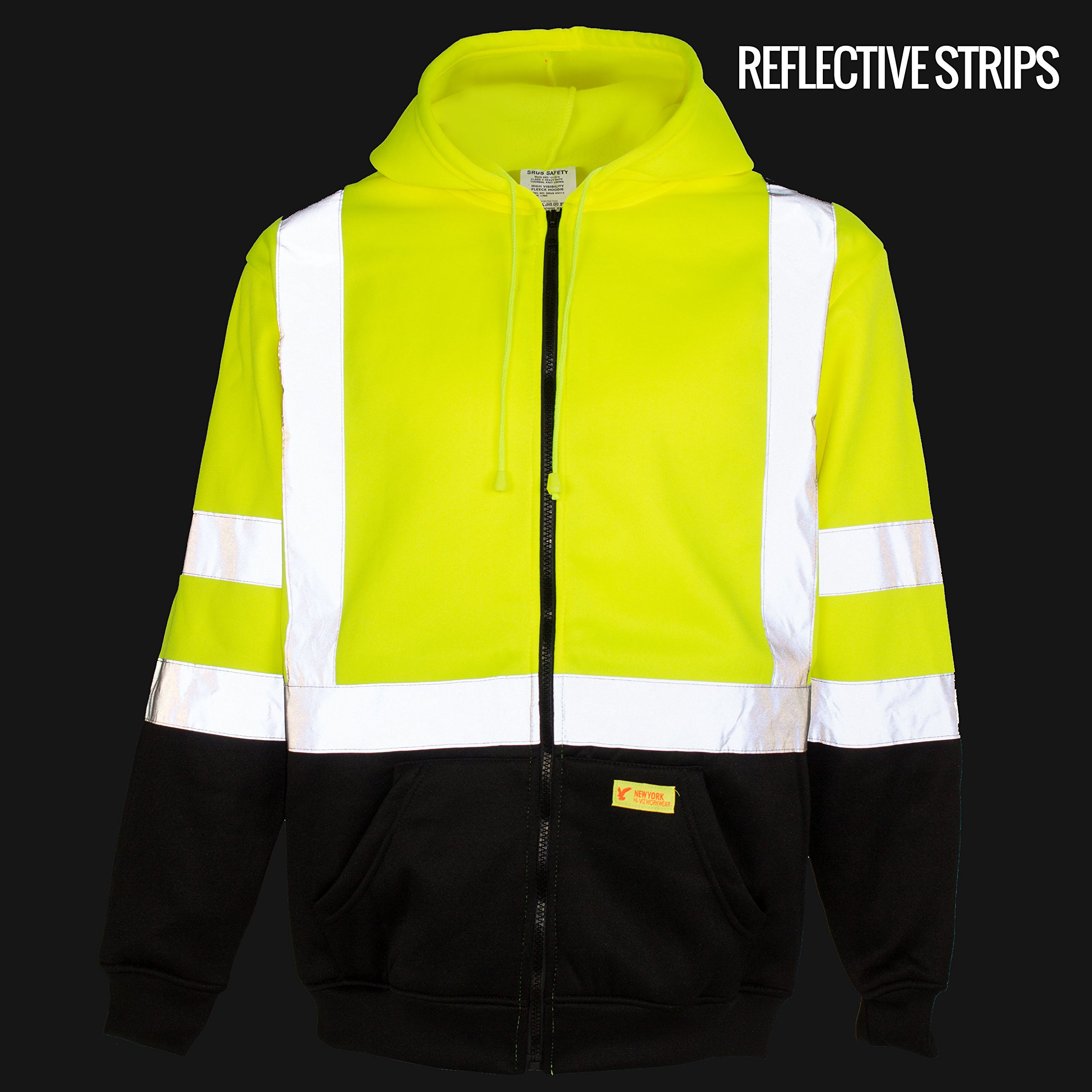 New York Hi-Viz Workwear H9012 Men's ANSI Class 3 High Visibility Class 3 Sweatshirt, Full Zip Hooded, Lightweight, Black Bottom (XX-Large) by New York Hi-Viz Workwear (Image #4)