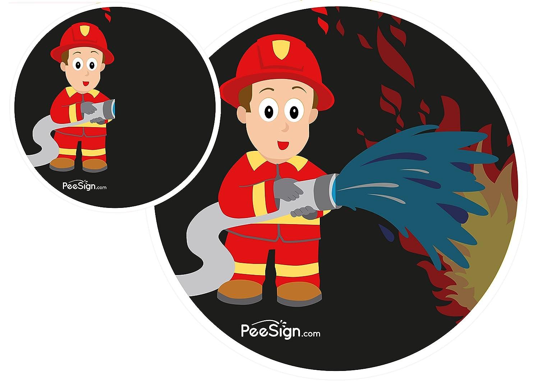 PEESING Pegatinas autoadhesivas para inodoro - Calcomania sticker para urinario lavado 'bombero' PEESIGN